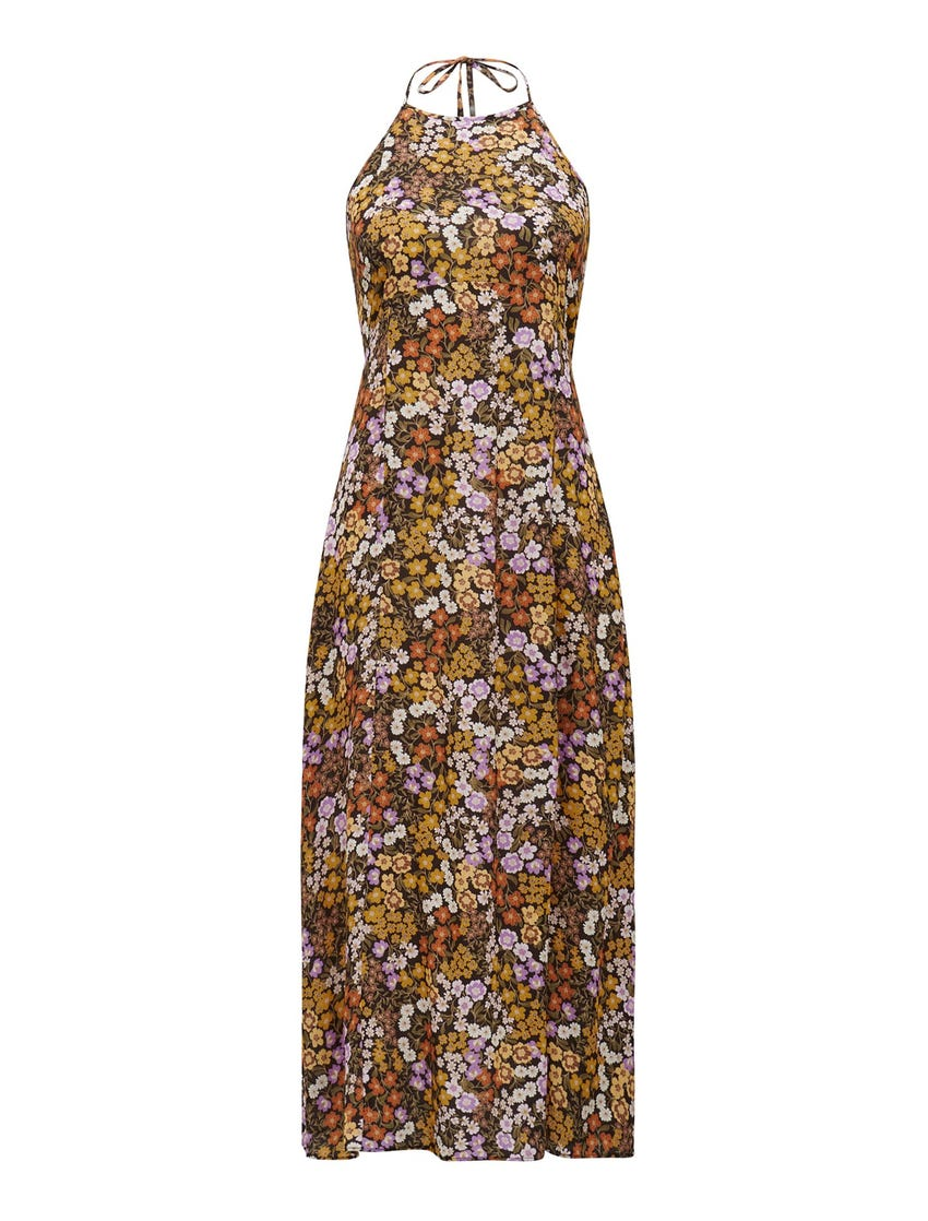 Rory Printed Halter Midi Dress