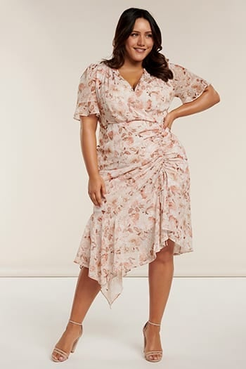 Ellie Curve Ruched Wrap Dress