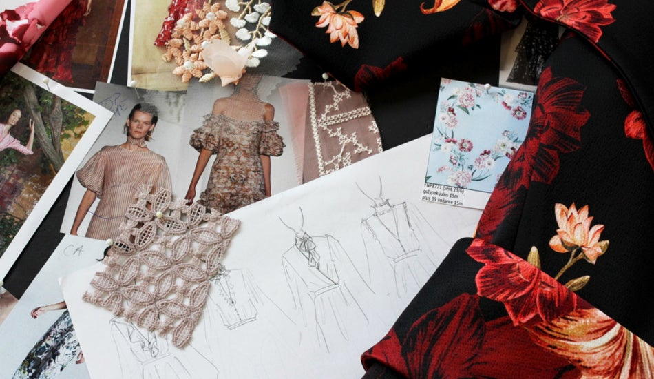 Moodboard of fabrics and threads