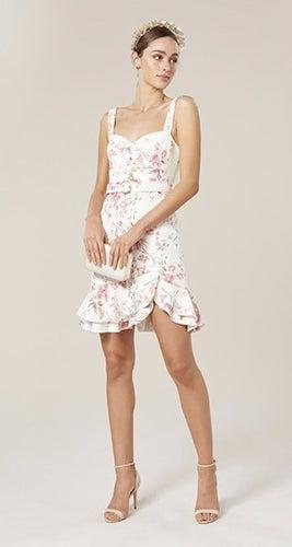 Miley Belted Frill Hem Dress