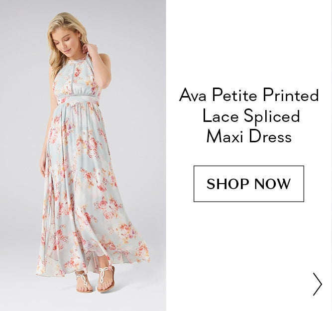 Ava Petite Printed Lace Spliced Maxi Dress